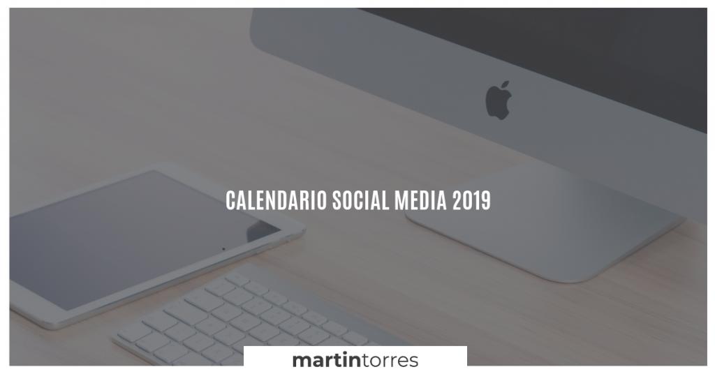 Calendario Social Media 2019